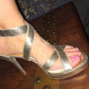 Michael Kors Gold Heels 10 Metallic Leather